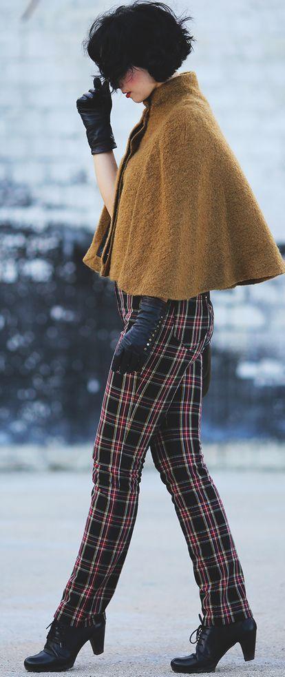 Aleksandra Ladygin Tartan Plaid Pants Camel Knit Cape Fall Inspo