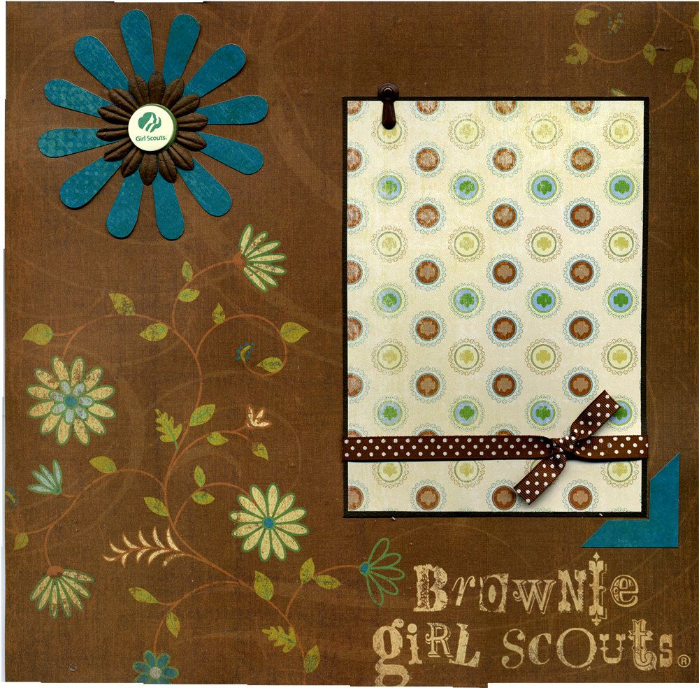Girl scout scrapbook ideas - Brownie Girl Scout 12x12 Premade Scrapbook Page