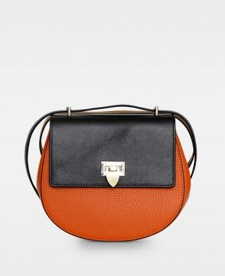 6dd0167b62 Tiny round satchel bag w buckle Autumn orange black