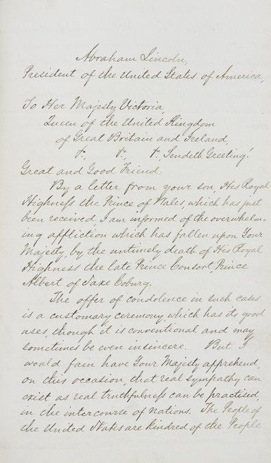 Letter of condolence from Abraham Lincoln to Queen Victoria on the - condolence letter