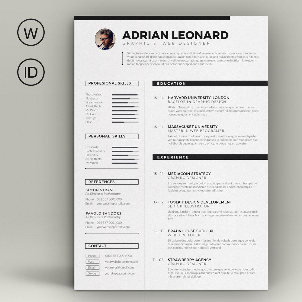 Resume Template By Sz On Creative Market  Graphic  Cv