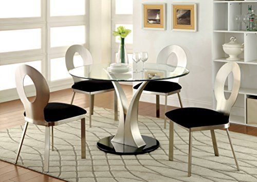 Furniture Of America Maiorga I 5 Piece Round Glass Top Dining Set
