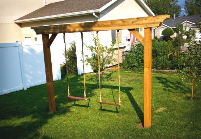 Diy swing set 5 ways to make your own pinterest diy for How to build a swing set for adults