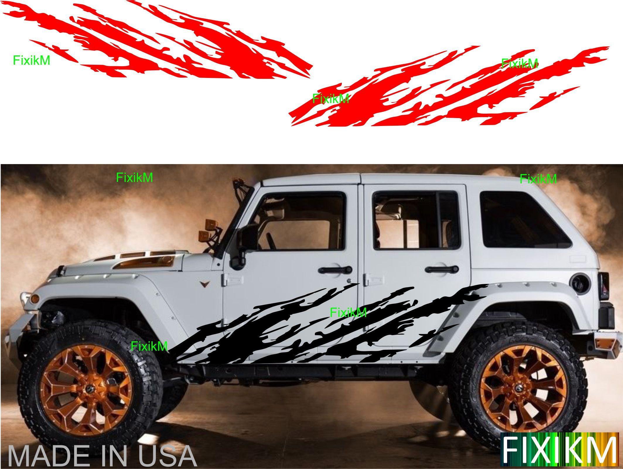 Custom Vinyl Decal TIRE TRACKS Wrap Kit for Jeep Wrangler 4-Door 07-16 WHITE