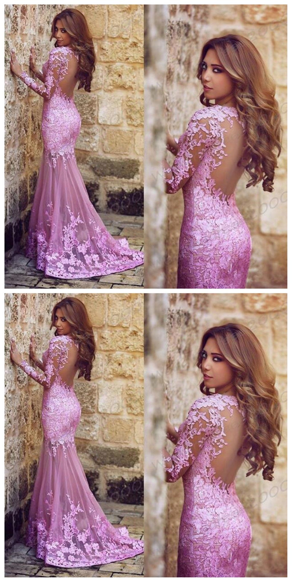 Long sleeve lace prom dresses lilac lace prom dress long prom