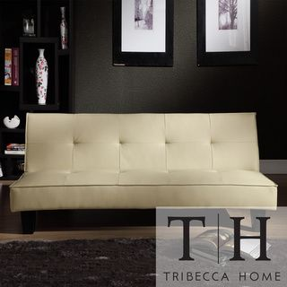 Tribecca Home Bento Beige Faux Leather Modern Mini Futon