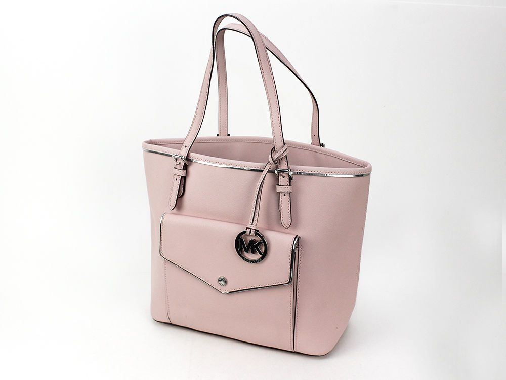 15dae58e66a0 MICHAEL KORS JET SET LARGE SAFFIANO LEATHER SNAP POCKET TOTE LIGHT PINK # MichaelKors #TotesShoppers