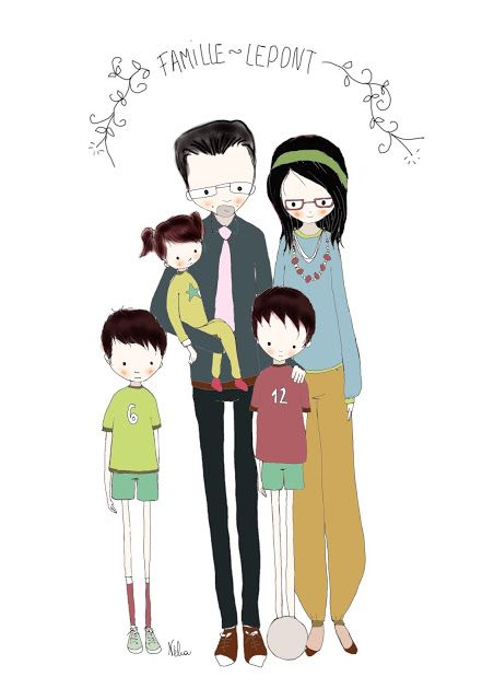 portrait de famille personnalis illustr stylis par n li dessins illustrations par n lia. Black Bedroom Furniture Sets. Home Design Ideas