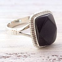 Black jade cocktail ring, 'Black Maya Princess'