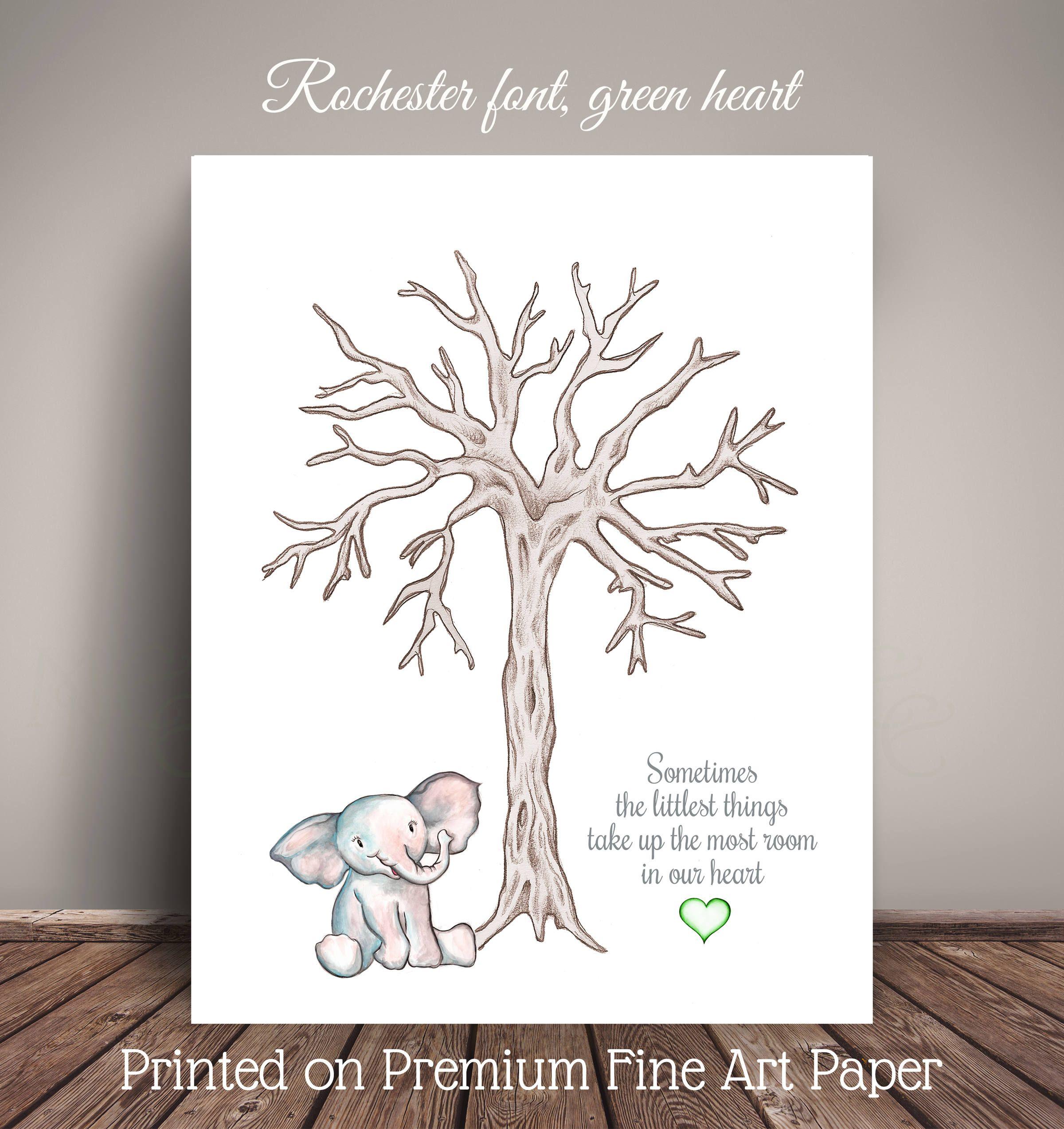 fingerprint tree guestbook alternative nursery decoration diy baby room decor A4 print custom birth details birth gift New baby boy