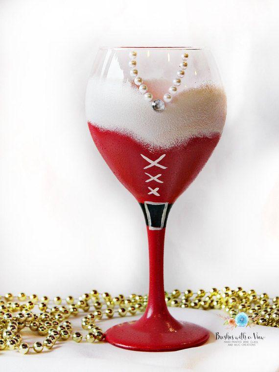 unique hand painted wine glasses cheetah print christmas wine glass holiday wine glasssanta unique glass santa gift secret hand painted