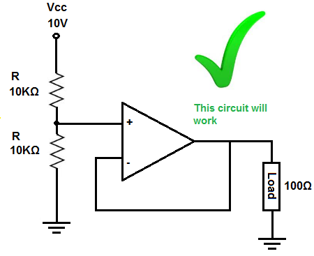 Voltage divider circuit that works - Voltage follower / buffer