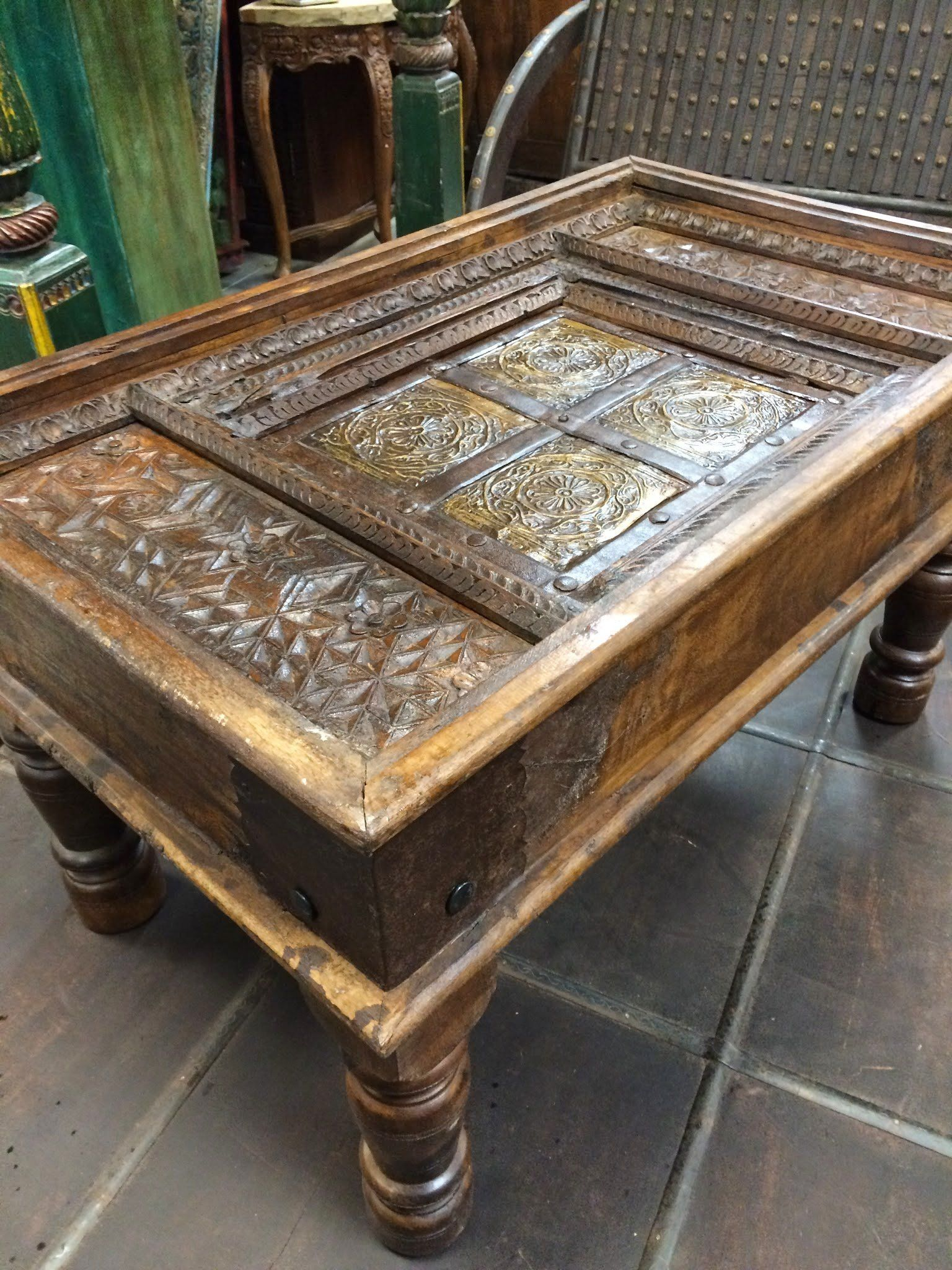 Jaipur Furniture Castle Traditional Antique Old Door Coffee Table