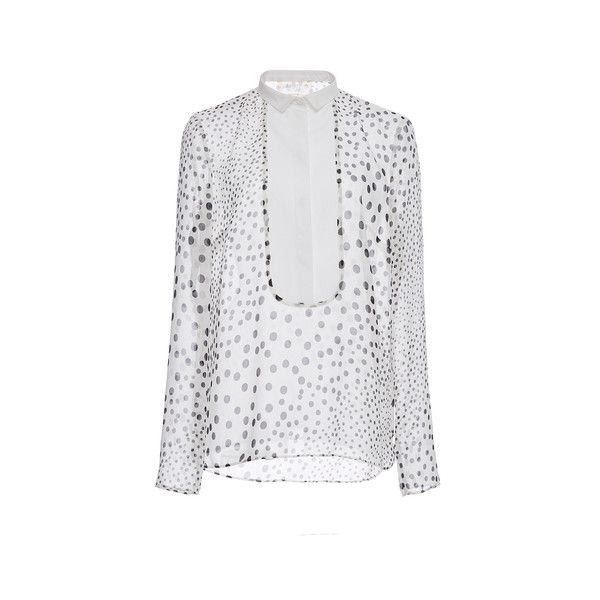 Giambattista Valli (€1.025) ❤ liked on Polyvore featuring tops, long sleeve tops, polka dot long sleeve shirt, extra long sleeve shirts, dot print shirt y shirts & tops