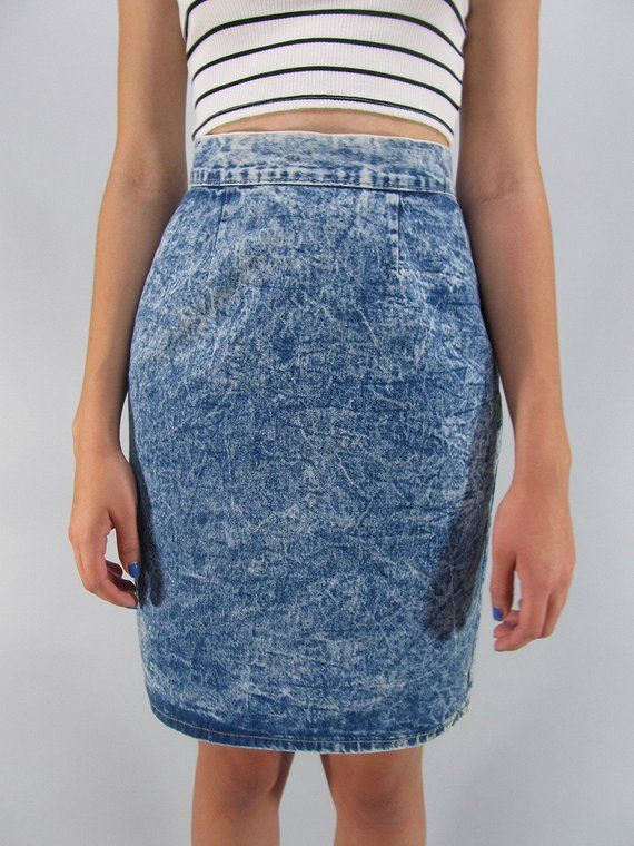 edc77968d Vintage 80s Acid Wash Denim Skirt, Denim Pencil Skirt, High-Waist ...