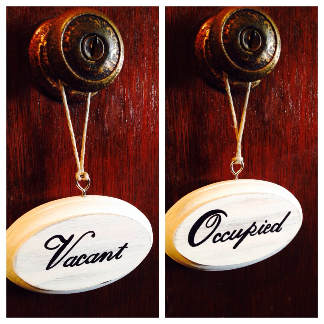 Vacant Occupied Double Sided Bathroom Sign White Etsy Bathroom Signs Simple Bathroom Room Signs