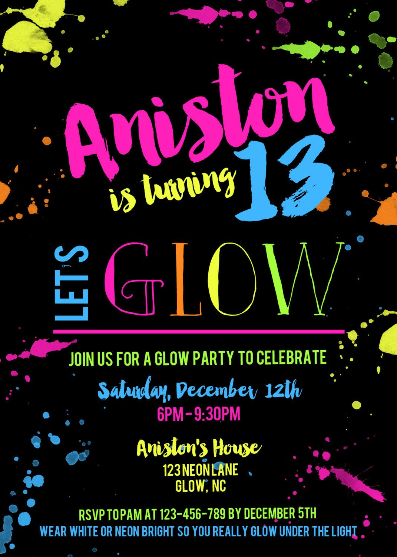 Glow party birthday invitation neon birthday invite get - Invitacion para cumpleanos ...