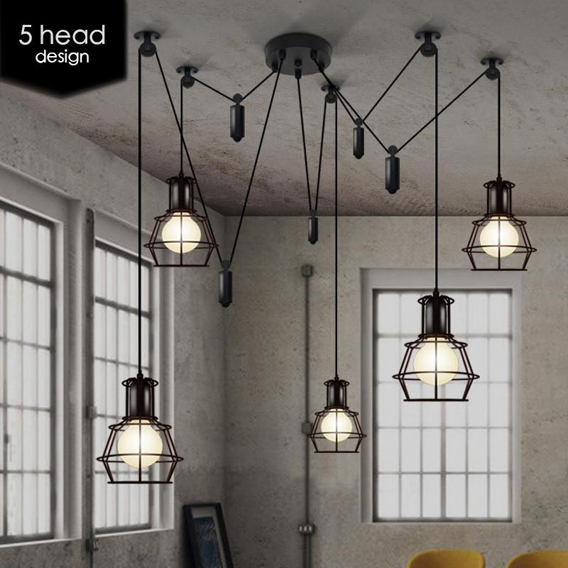 Multi Head Work Lamp Cage Chandelier With Images Work Lamp