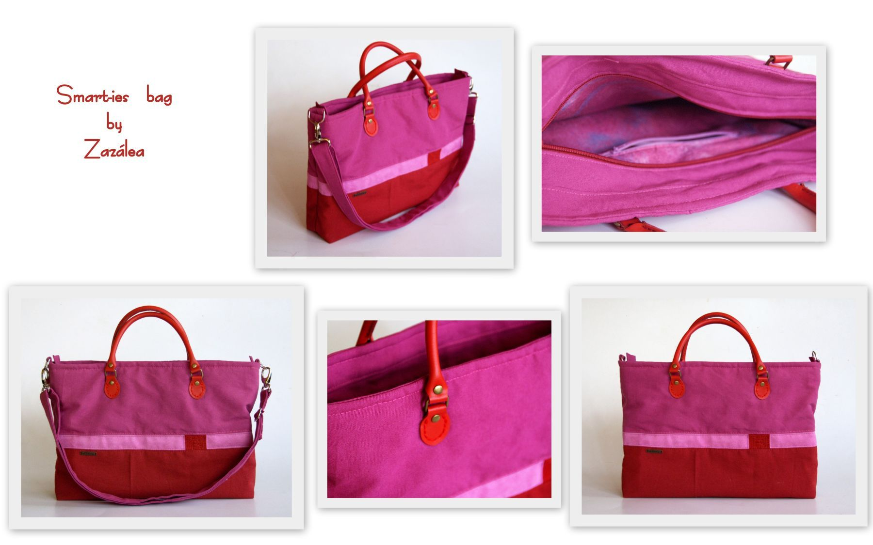 Smart Ies Bag In Pink And Red With Handle
