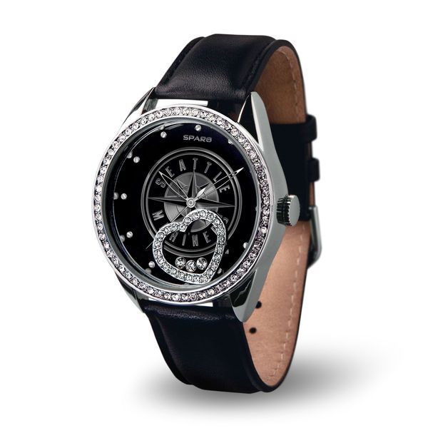 Women's Seattle Mariners Black Beat Leather Watch