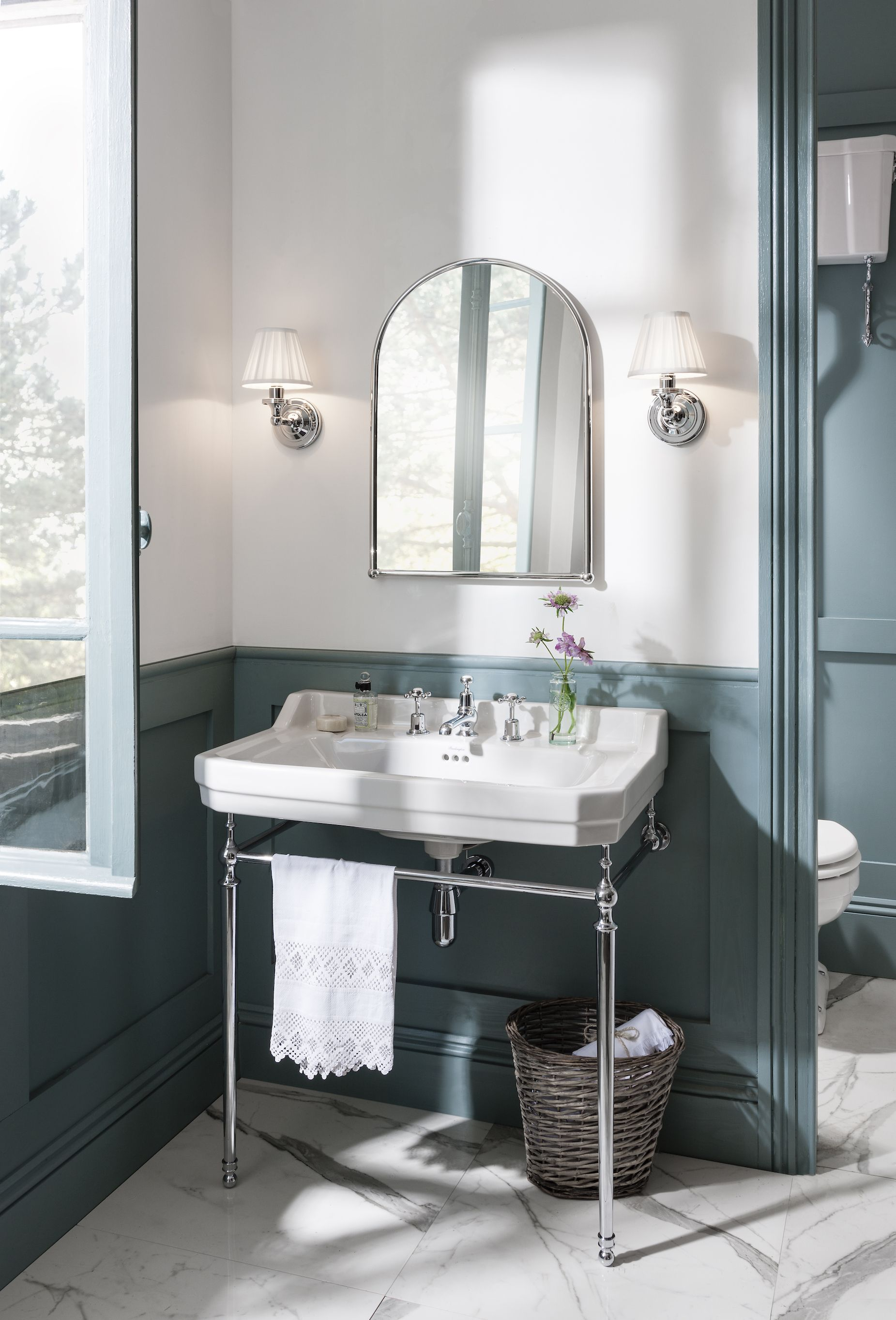 Photo of Blue trend. Period bathroom with a luxury freestanding bath from Burlington, now…
