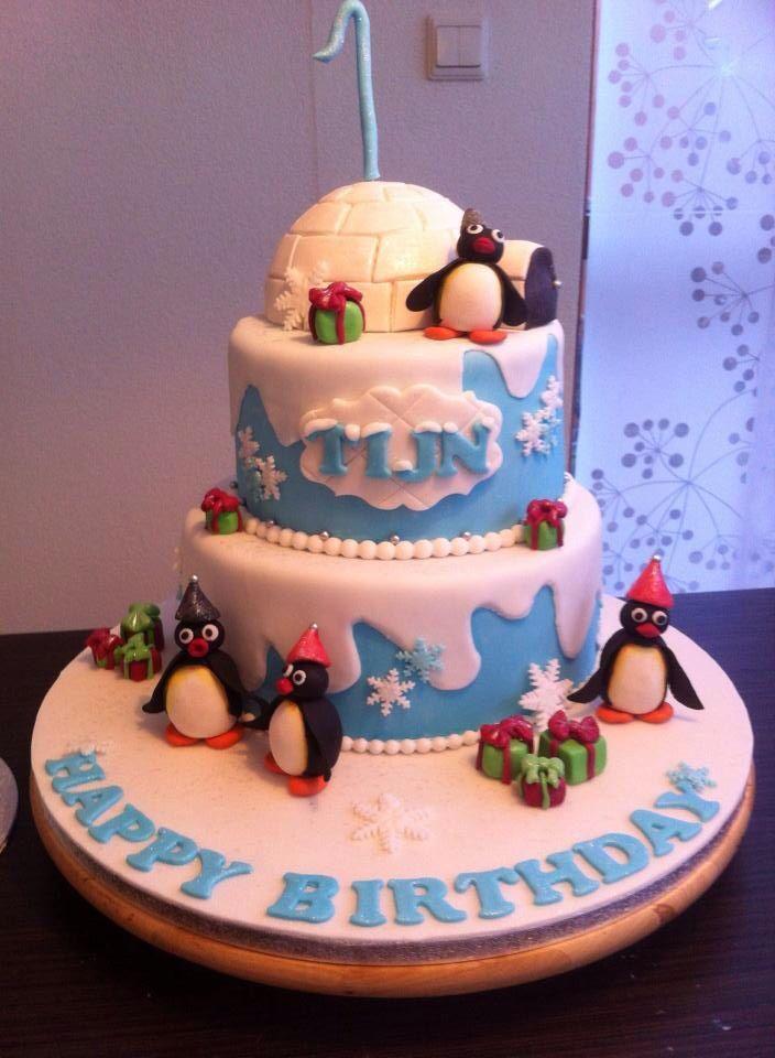 Pingu / pinguïn cake