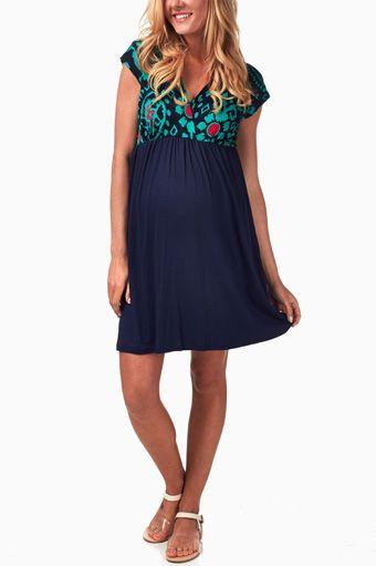 Green-Floral-Print-Maternity/Nursing-Dress
