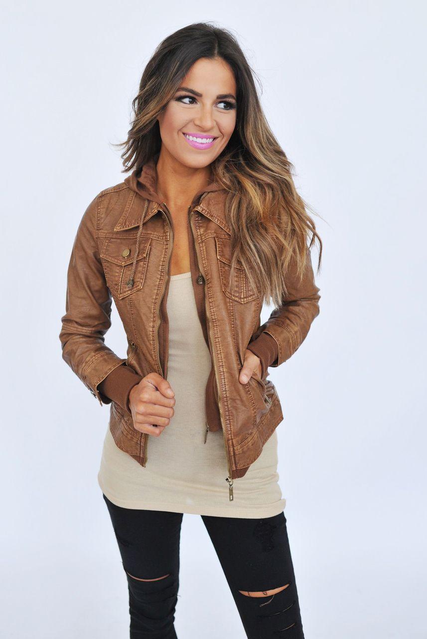 Detachable Hooded Faux Leather Jacket | Convertible, Dottie ...