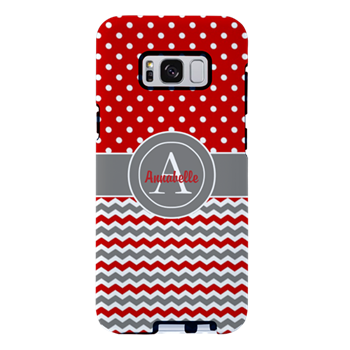Red Gray Polka Dot Chevron Samsung Galaxy S8 Plus By Designsbyharmony Cafepress Galaxy S8 Phone Cases Protective Samsung Galaxy