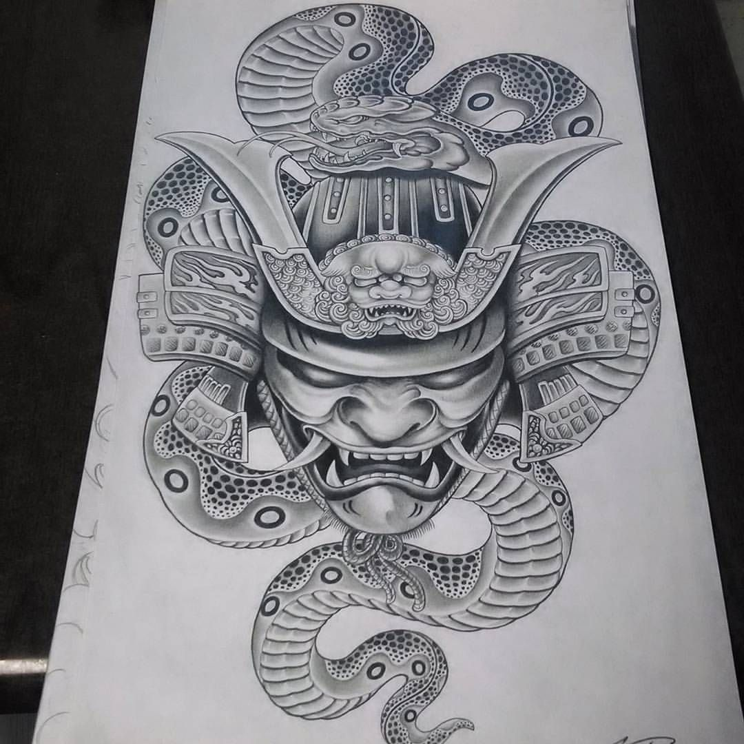 "427 Likes, 15 Comments - Ktdragon Tattoo (@tommyktdragon) on Instagram: ""#samuraimasktattoo #japanesesnake #samuraitattoo #samuraihelmet"""