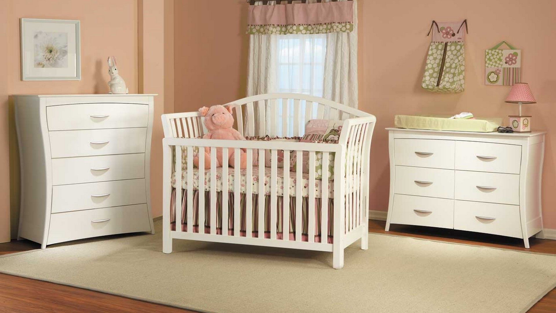 Schlafzimmer cinderella ~ Tempting baby furniture with white crib dressers and pink curtain