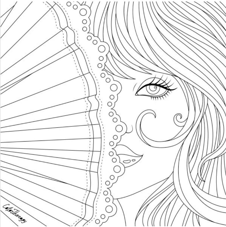 Pretty Lady With Fan To Color On Colortherapy App Mandala Coloring Pages Blank Coloring Pages Cute Coloring Pages