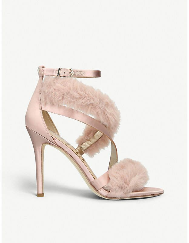 41de7df4bda0 Sam Edelman Adelle satin and faux-fur heeled sandals