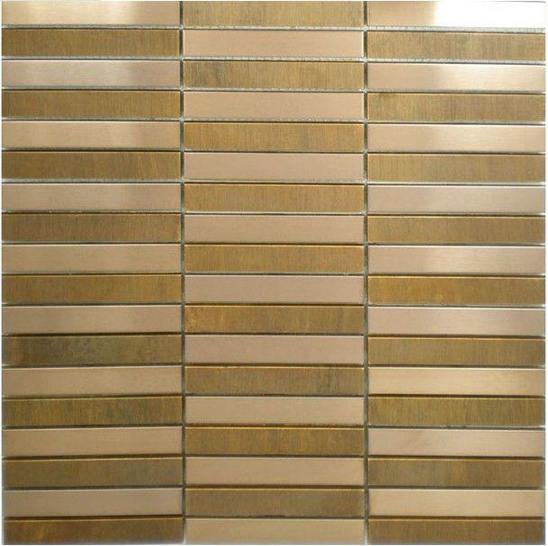 Gold metal mosaic tile SMMT036 strip stainless steel metallic mosaic wall  tiles backsplash mosaic pattern wall. Gold metal mosaic tile SMMT036 strip stainless steel metallic