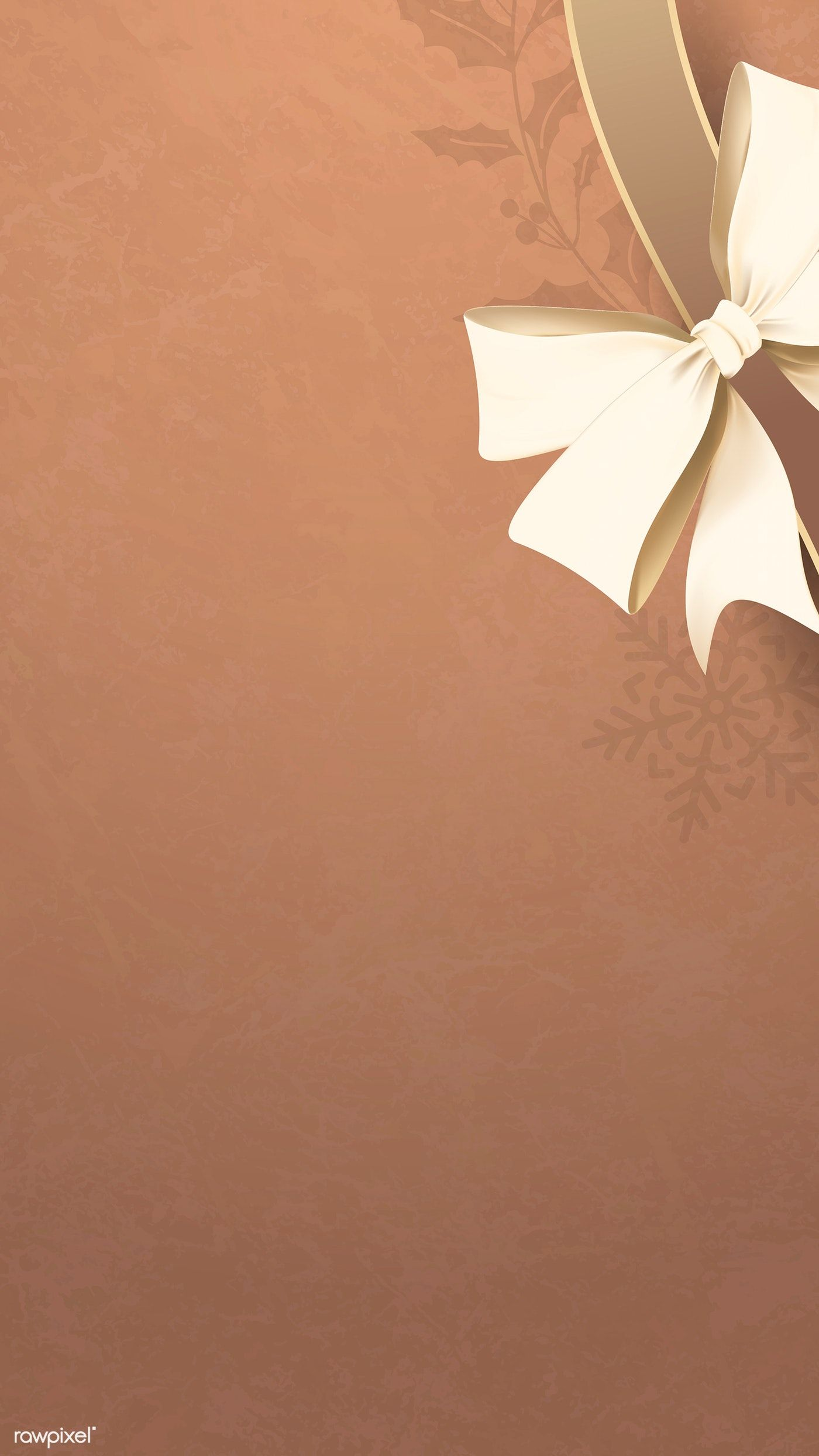 Download Premium Vector Of Gold Ribbon Bow On Brown Background Vector Gold Wallpaper Background Gold Ribbons Floral Border Design