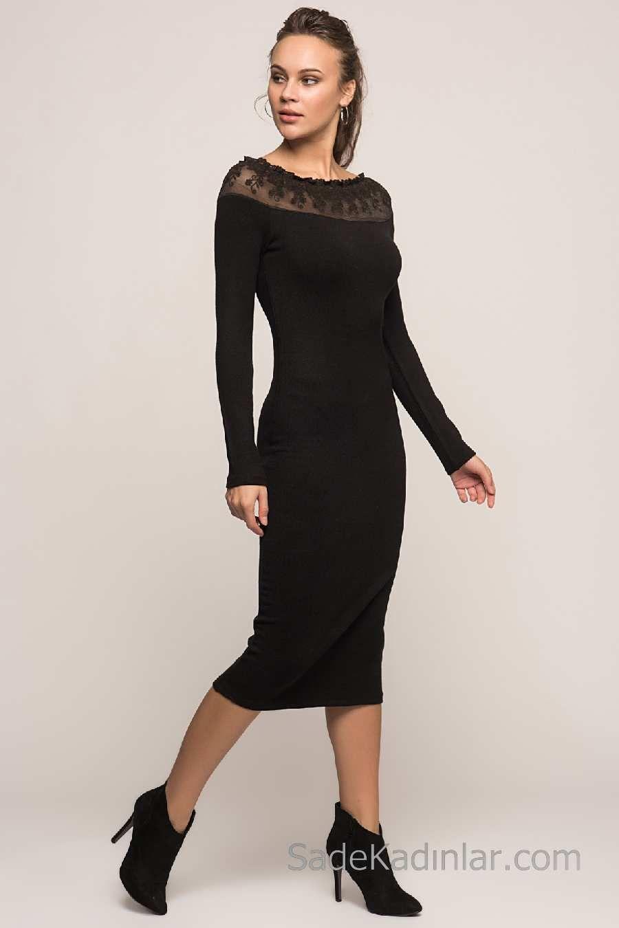 2020 Kislik Elbise Modelleri Siyah Diz Alti Kayik Yaka Dantelli Elbise Modelleri Elbise The Dress