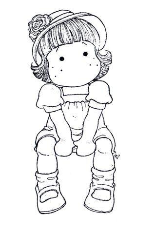 Coloriage Fille Avec Modele.Tilda Assise Avec Un Chapeau Petite Fille Sage Digitale