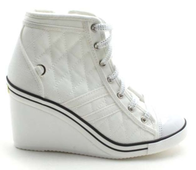 Details about New Women's Casual Canvas High Top Wedge High