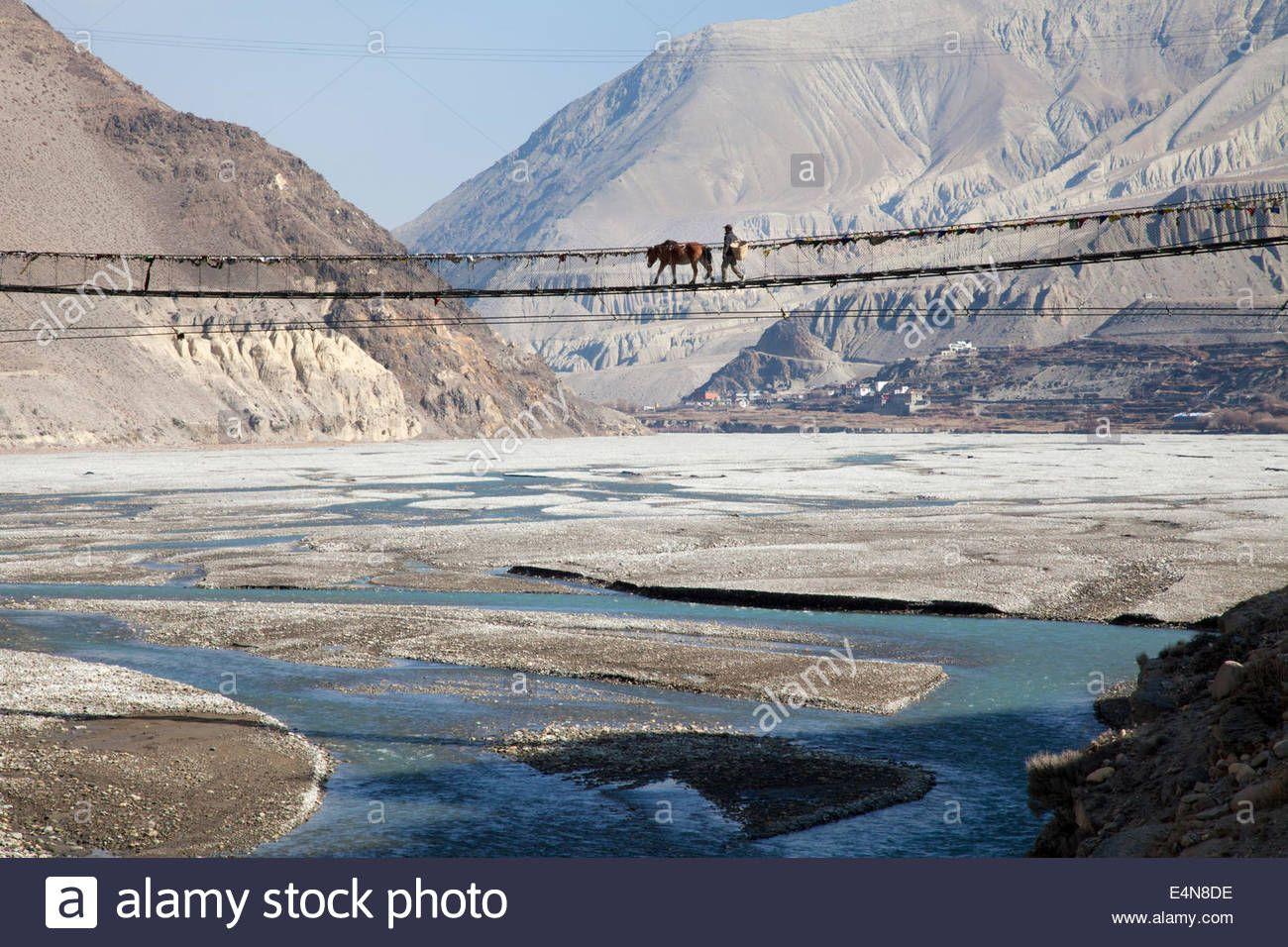 Bridge On The Jomsom To Kagbeni Trek, Mustang District, Annapurna.