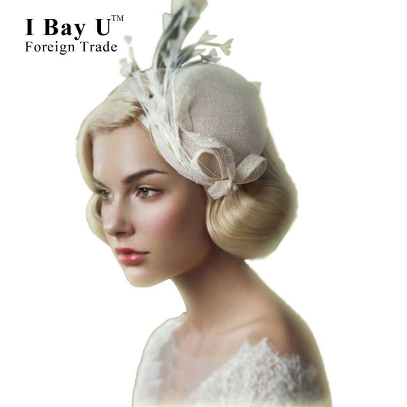 I Bay U Feather Linen Bridal Hats Wedding Hair Accessories Cheap Headpieces Fascinators And