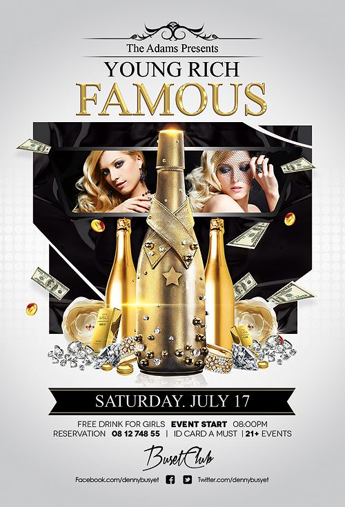 Young Rich And Famous Nightclub Flyer Design Template Club Flyer - flyer samples for an event