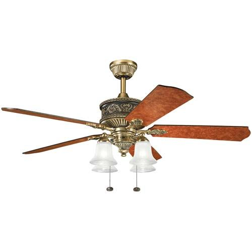 Kichler fans 300161bab ceiling fan english country style kichler lighting corinth burnished antique brass downrod or close mount indoor ceiling fan with light kit aloadofball Image collections