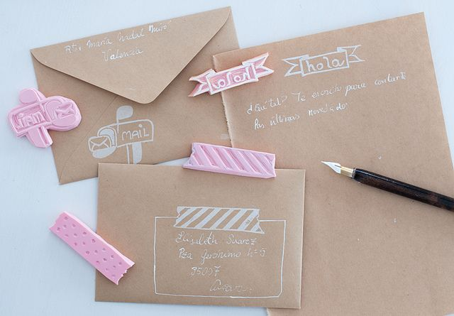 """Inspiration: kraft envelopes with white pen. Could do this without the stamps by drawing a faux washi tape address label and """"hello"""" flag."""