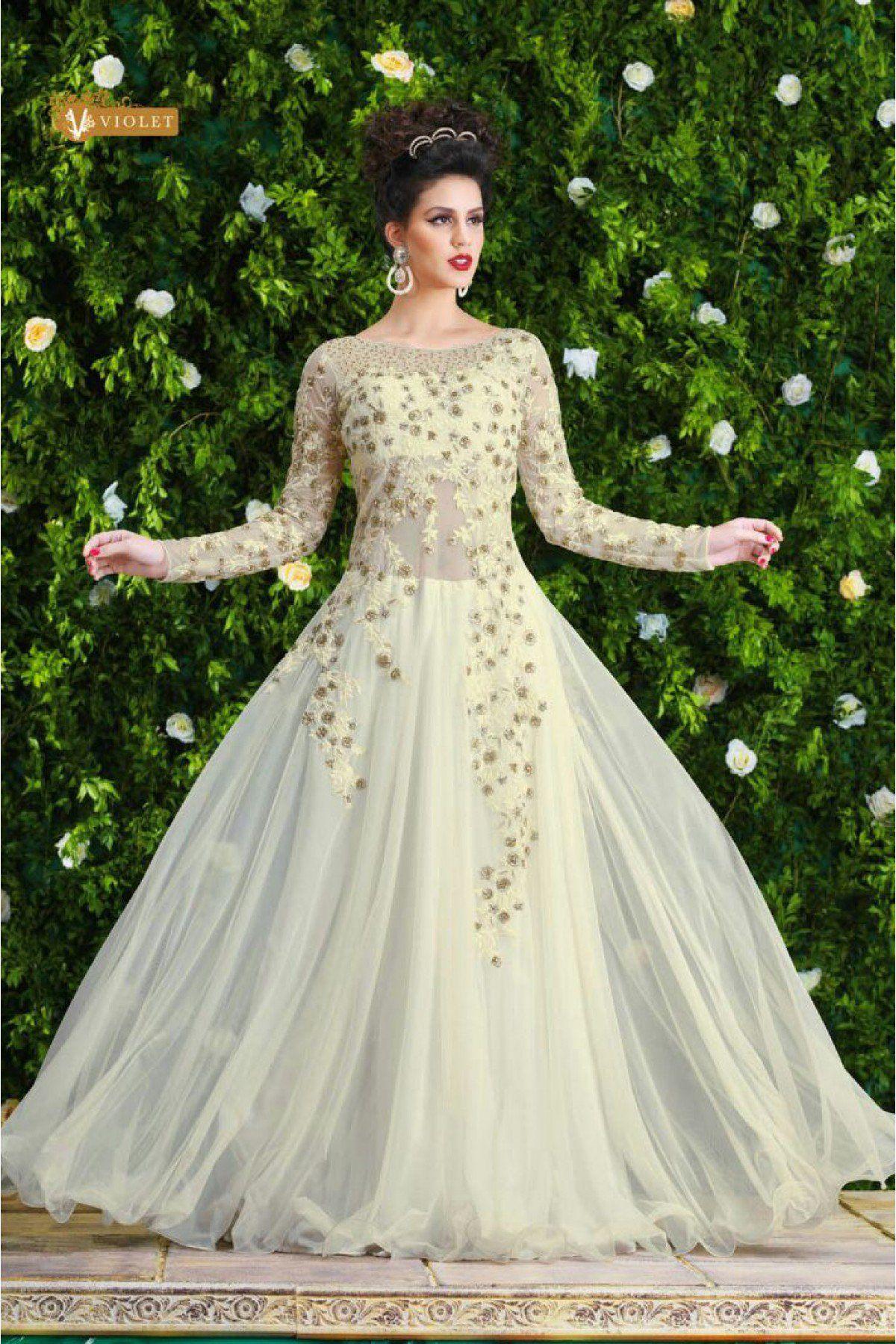 247ffe49e4 Net Semi Stitched Designer Gown In White Colour in 2019   Gowns ...