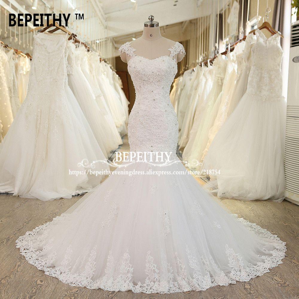 Vestido de novias mermaid lace wedding dress long train crystal