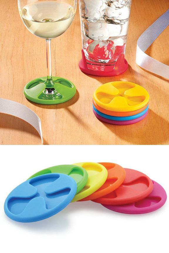 Silicone Grip Coasters (Set of 6): Colorful Coasters That Cling To Your Beverage. Also…