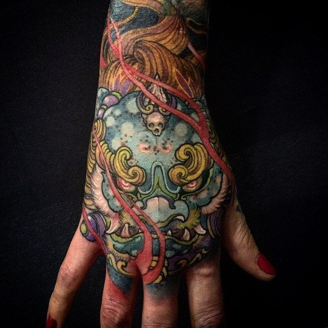 Chronic Ink Tattoo Toronto Tattoo Foo Dog Tattoo Done Via Freehand By Tristen Hand Tattoos Foo Dog Tattoo Tattoos