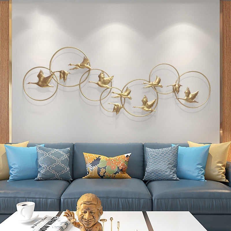 Modern Chinese Gold Wrought Iron Ginkgo Leaf Wall Crafts Decoration Home Livingroom Wall Porch Background Mural Metal Ornaments Wall Stickers Aliexpress Metal Wall Decor Living Room Gold Metal Wall Art Metal