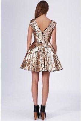 OPULENCE ENGLAND - Gold Sequin Prom Dress - Designer Dress hire