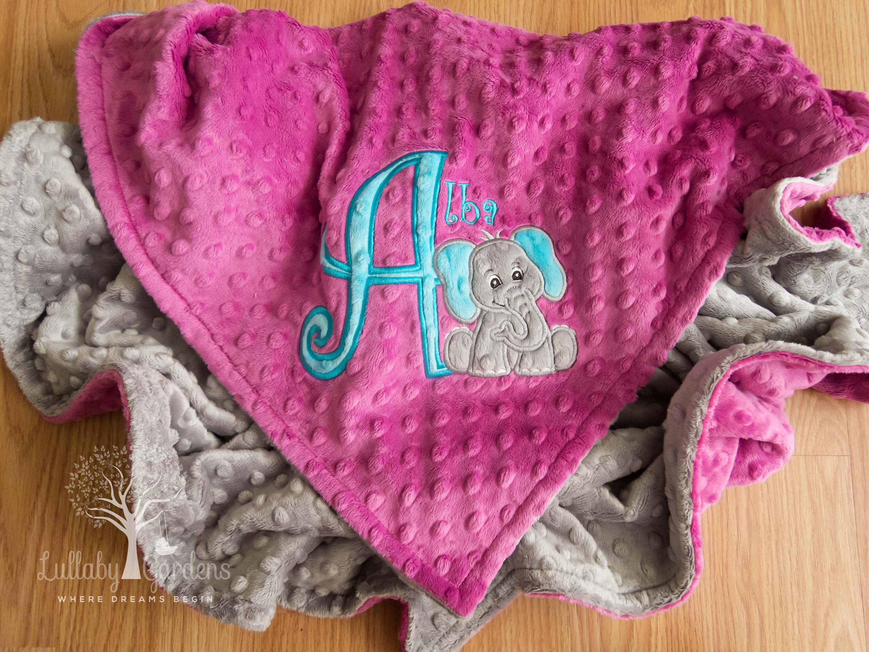 Personalized minky baby blanket personalized baby gifts elephant personalized minky baby blanket personalized baby gifts elephant minky blanket appliqued elephant minky negle Gallery